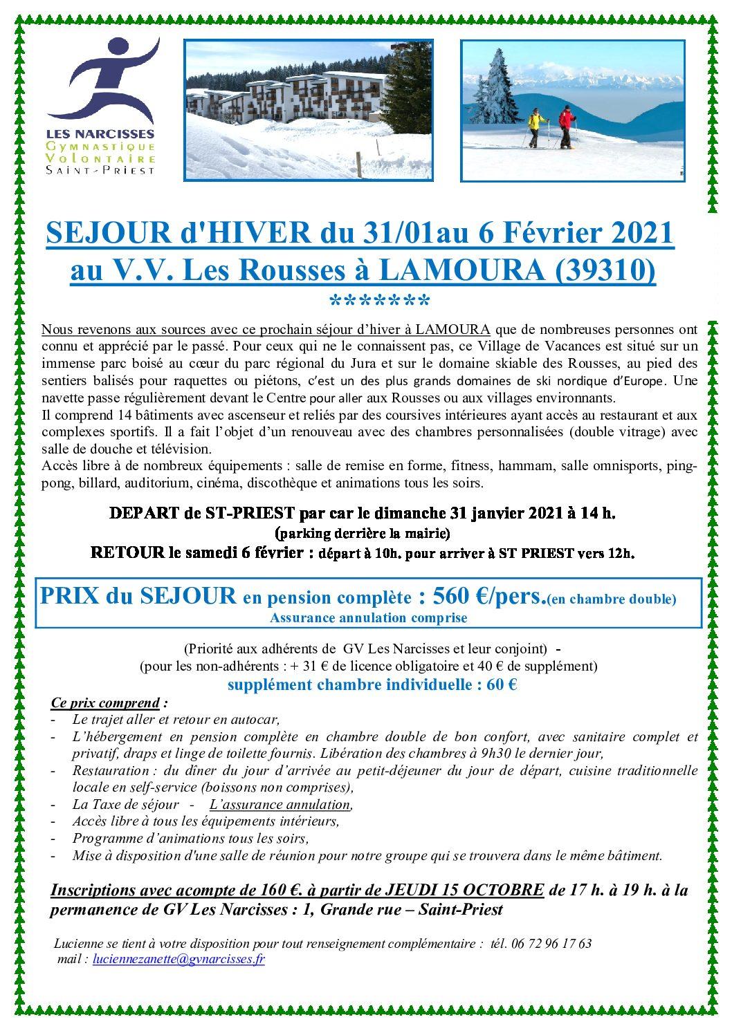 SEJOUR D'HIVER A LAMOURA (Jura)